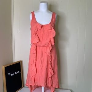 LILY ROSE Coral Pink Ruffle Midi Summer Dress S